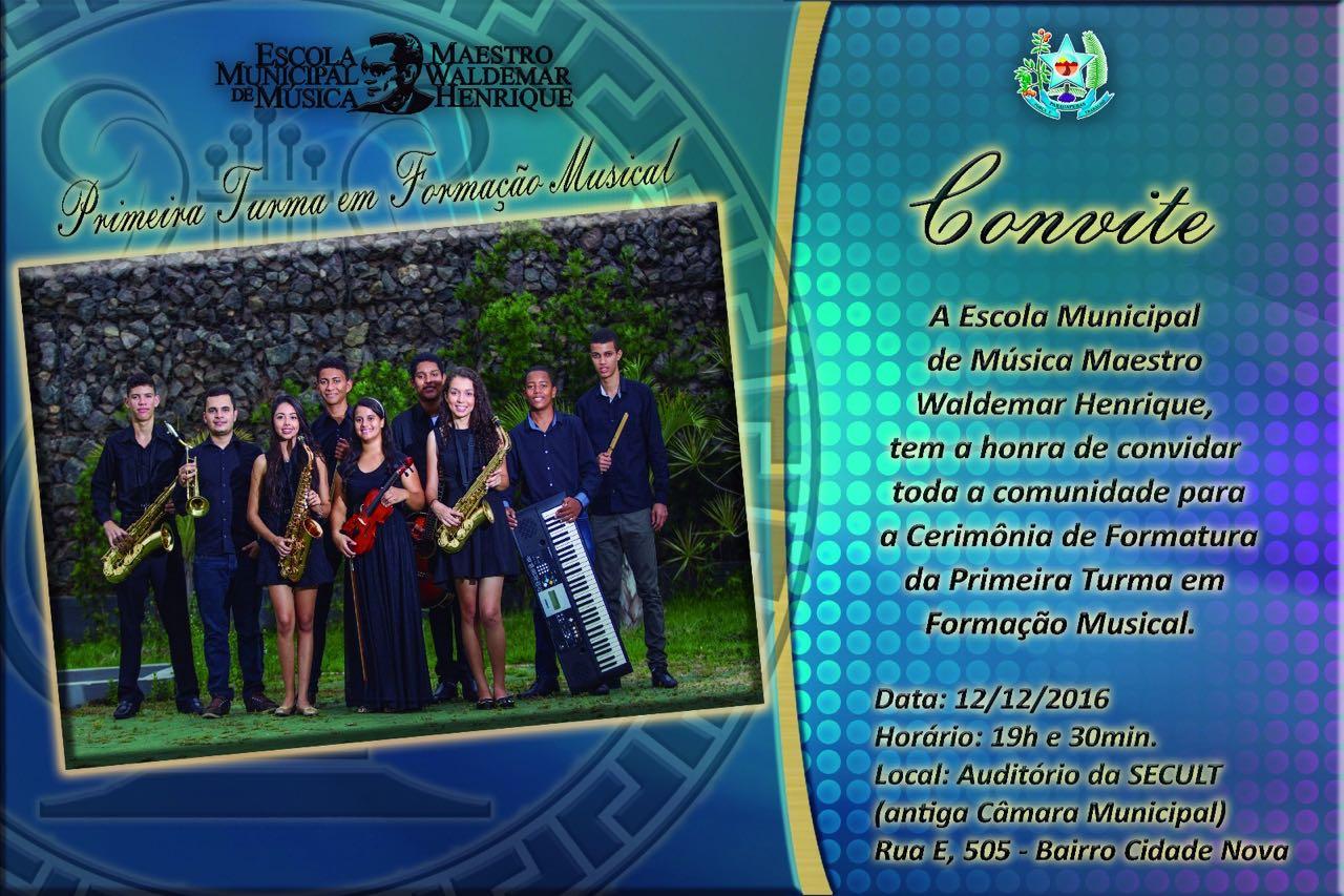 Escola de Música Maestro Waldemar Henrique realiza cerimônia de formatura nesta segunda-feira (12)