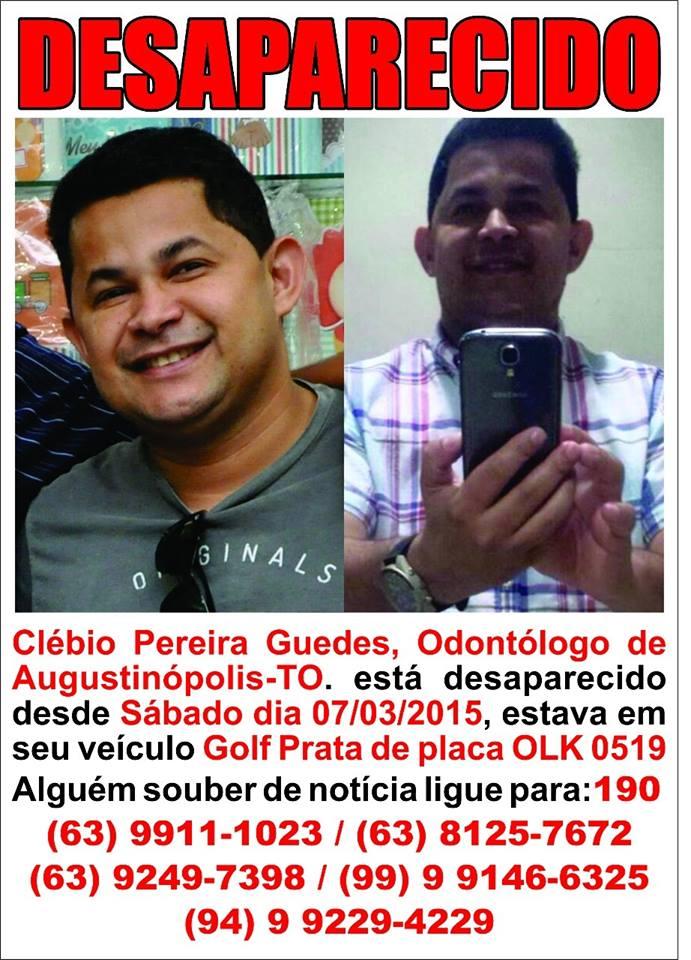 Suspeito de envolvimento no sumiço do dentistas, Klebio Pereira Guedes é preso hoje (6)