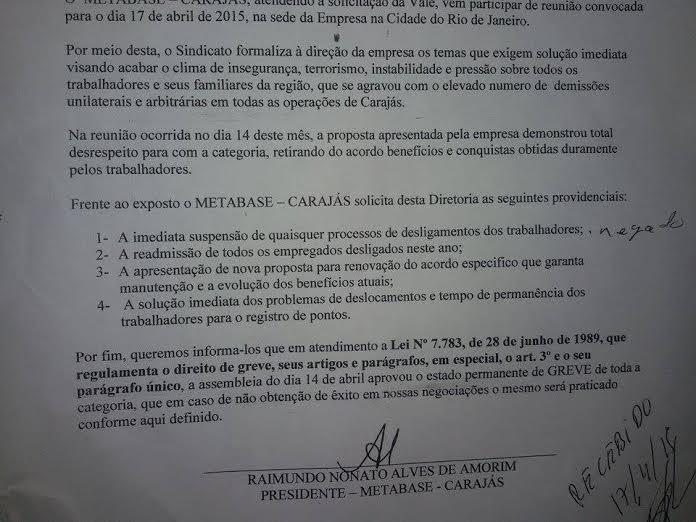Carta protocolada na Vale