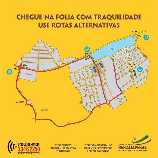 Carnaval: DMTT divulga mapa do trânsito no Nova Carajás