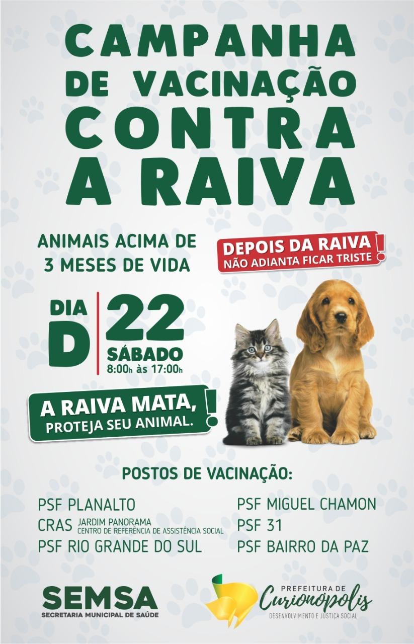 Sábado é dia D de Vacinação Contra Raiva em Curionópolis