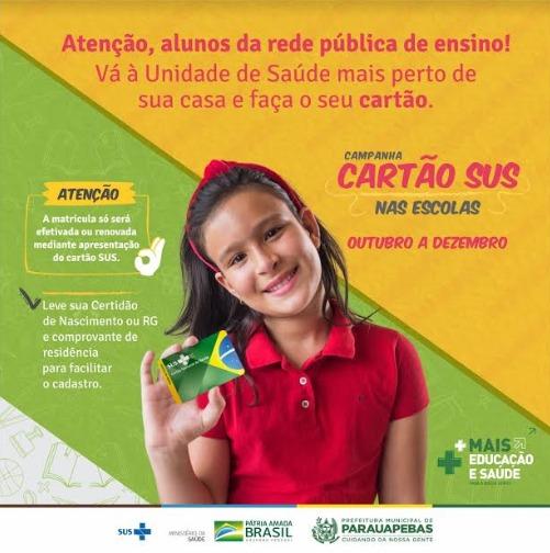 Prefeitura realiza campanha para emissão do Cartão SUS nas Escolas